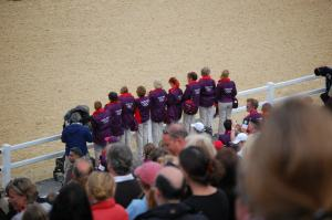 Here we are, watching that medal ceremony - look for the red hair...!